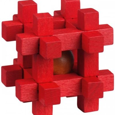 Be clever! houten smartpuzzel rood 6 cm